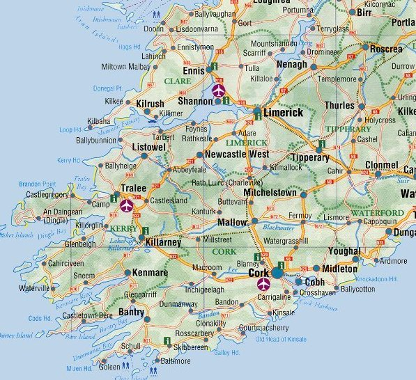 Road Map Of Ireland Counties.Ireland Maps Free And Dublin Cork Galway