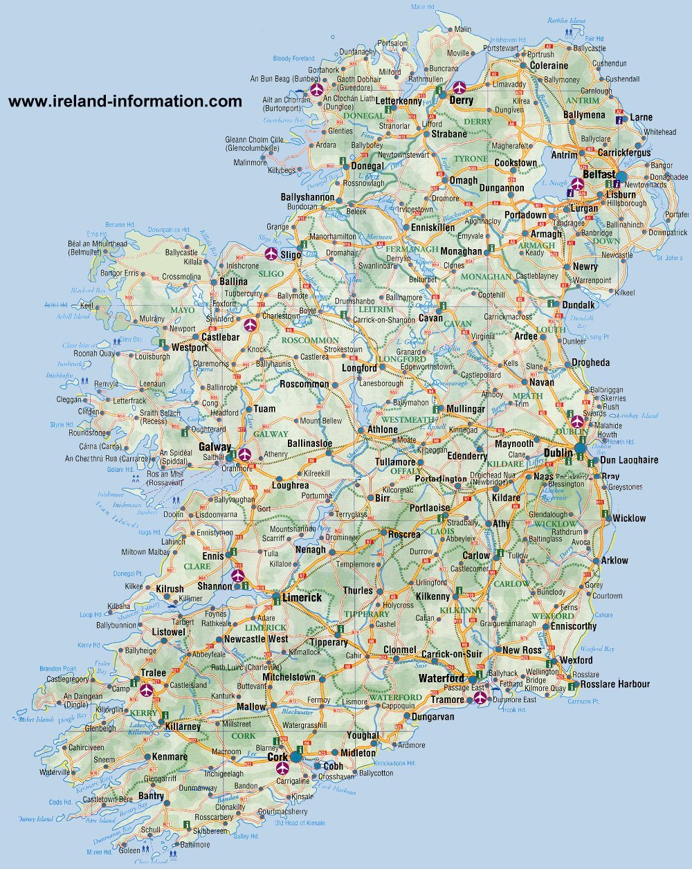 Ireland Road Map Ireland Maps Free, and Dublin, Cork, Galway Ireland Road Map
